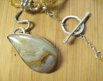 Honey Seam Agate with Beaded Necklace