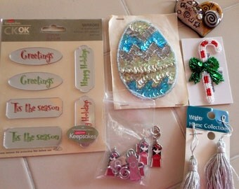 Christmas Appliques, Beaded Ornament and Candy Cane, Silver Tastles, Mirror Stickers, Charms