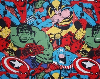 Marvel Comic Oversided Hulk Spiderman Captain America Fabric By The Yard