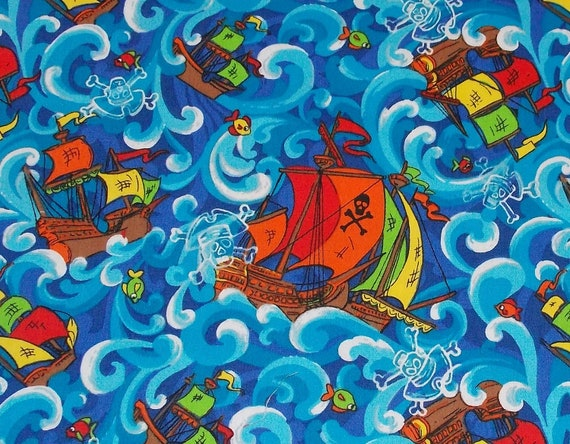 Pirate Ships Fabric By The Yard FBTY