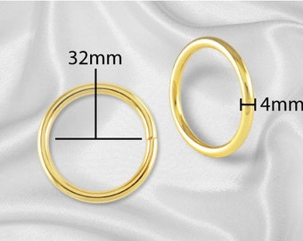 "30pcs - 1 1/4"" Metal O Rings Non Welded Gold - Free Shipping (O-RING ORG-118)"