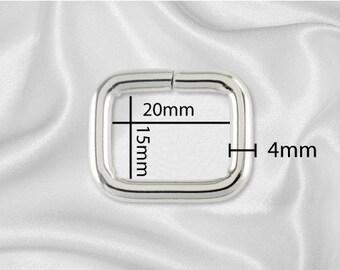"""50pcs - 3/4"""" Metal Square Ring - Nickel (SQUARE RING SRG-100)"""