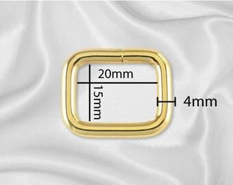 """30pcs - 3/4"""" Metal Square Ring - Gold (SQUARE RING SRG-102)"""
