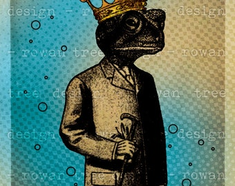 Printable Art THE FROG PRINCE 4x6in Digital Collage - no. 0186