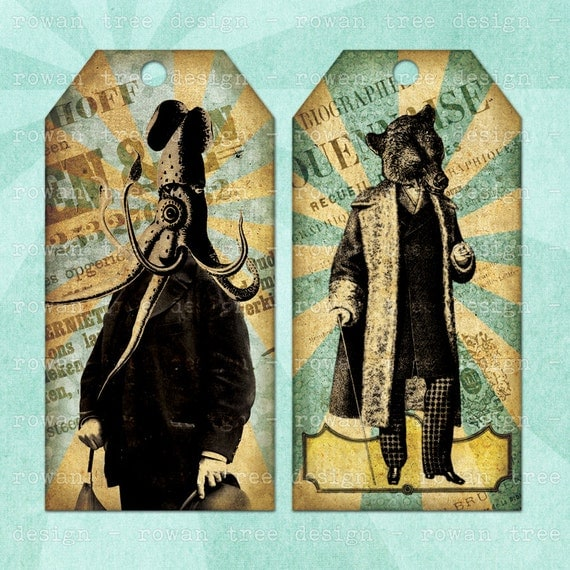 Printable Tags MEN With ANIMAL HEADS Digital Collage Sheet Tags & Bookmark - no. 0041
