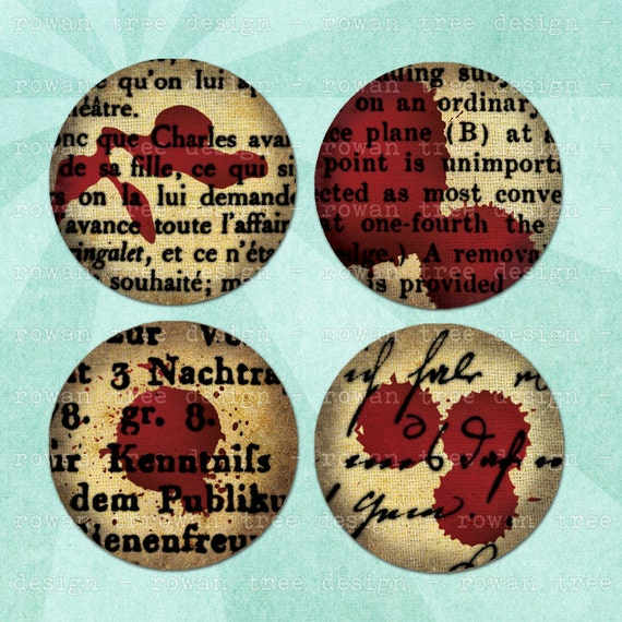 BLOOD-STAINED TEXT Digital Collage Sheet 1.5in or 1in Circles Gothic Spooky - no. 0079