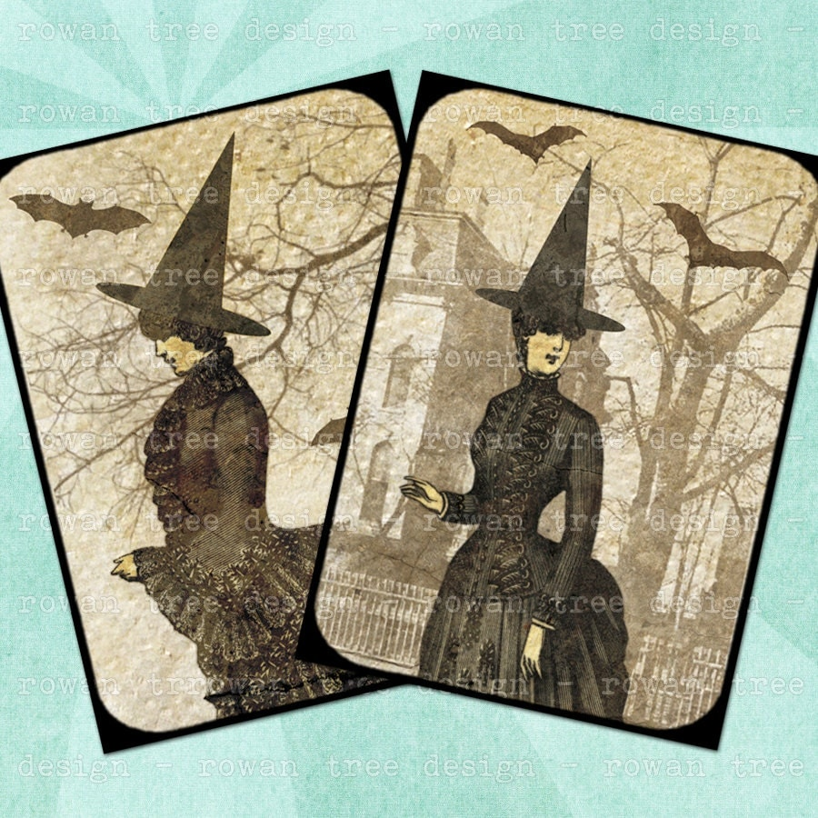 Digital Collage Sheet Victorian Witches Halloween 2 5x3 5in