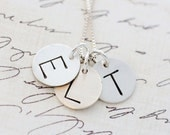 Hand Stamped Initial Necklace - Initial Necklace - New Mom Initial Necklace - Initial Charm Necklace - Monogrammed Necklace - 3 1/2 Inch