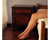 Legs and Brown Bedroom - 8x8 Fine Art Photograph - Warm Natural Light Photography Print