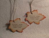 Personalized autumn leaf favor tag for weddings, showers, birthdays, etc.  - quantity 6
