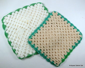 Vintage Crochet Pot Holders, Hot Pads, Beige, Green Trim (724-12)