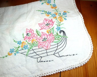Vintage Embroidered Dresser Scarf, Table Runner Pink Flower Embroidery, Linens   (408-13)