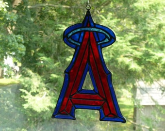 MLB Angels Baseball inspired Stained Glass