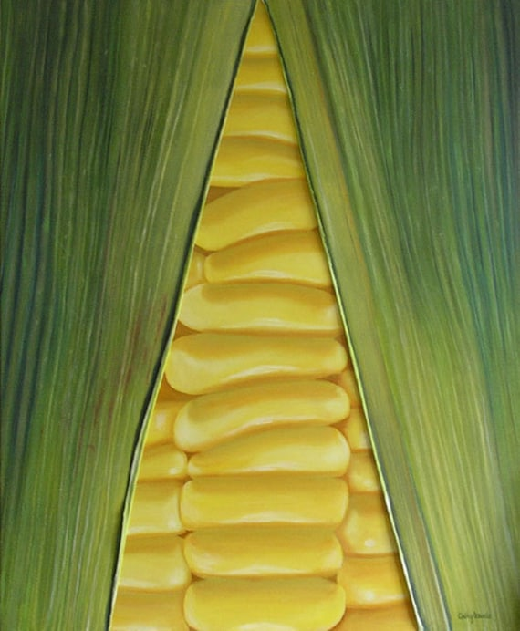 Sweetcorn Painting Very Large Mixed Media Original Close up of Vegetable Yellow and Green