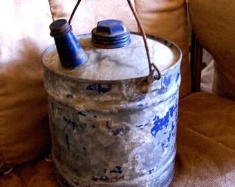 Vintage Chippy Blue Galvanized Kerosene or Gas Can