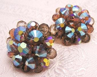 Vintage Amber Brown Aurora Borealis Earrings. J133