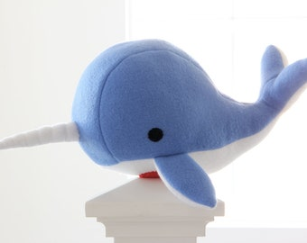 Handmade narwhal plush toy- Noah- blue soft fleece whale narwal plushie