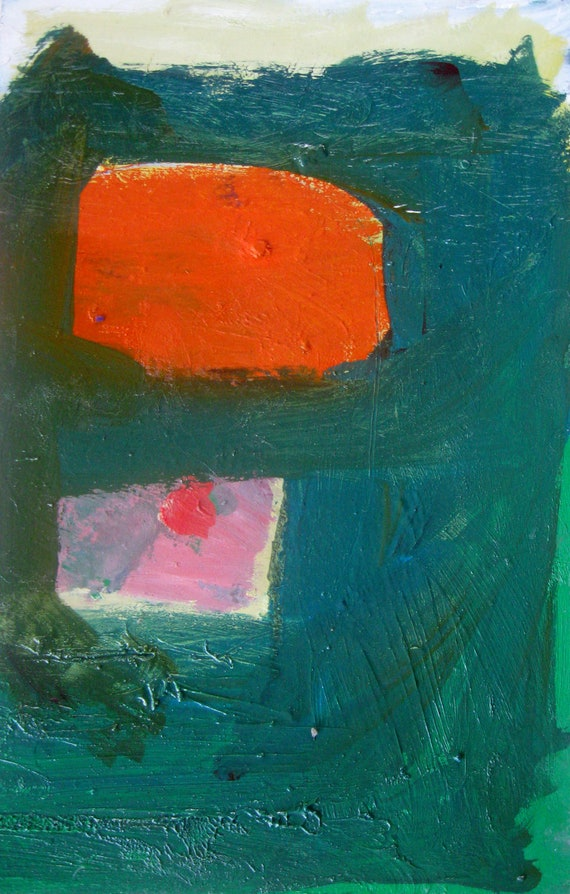 Orange and Teal Abstract, Original oil painting on paper