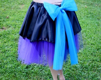 Tulle and Black Satin Tea-Length Skirt with a Giant Turquoise Blue Bow Adult Large MTCoffinz --- Ready to Ship