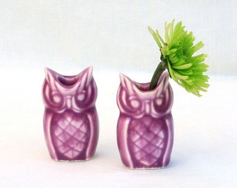 Tiny Owl Vase Pair in Stoneware with Orchid Pink Glaze