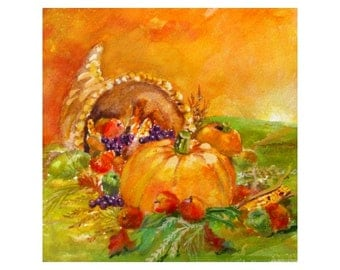 Original Watercolor - CORNUCOPIA Horn Of Plenty - FALL / AUTUMN  Painting by Rodriguez * Small Art Format