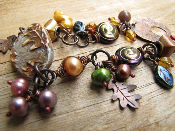 Wire Wrapped Copper Charm Bracelet - Fall Leaves Pearls Polymer Clay - Plum Gold Rust