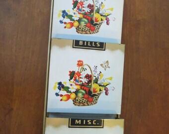 Vintage Metal Flower Mail Organizer Hanging Pockets