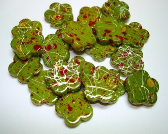 Green with Yellow Red Splash Drawbench Acrylic Flower Beads (Qty 20) - B1923