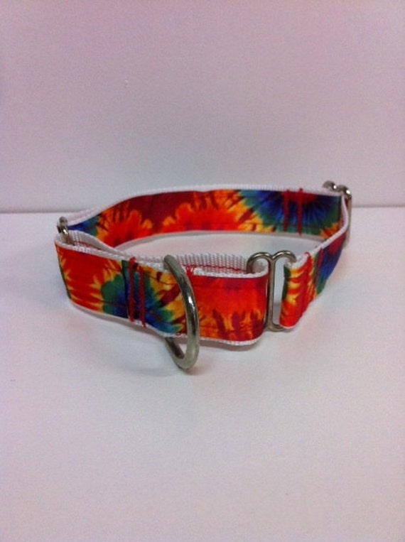Handmade Adjustable MARTINGALE Collar Bright Tie Dye Print for Your Pampered Pup