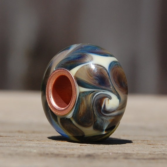 Clearance Sale 40% Off - BHB/Big Hole Bead, Copper Cored Handmade Lampwork Glass Bead - SRA
