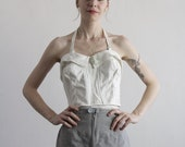 Vintage Halter Top . Summer White . Classic Pin Up . Bombshell . 1950s