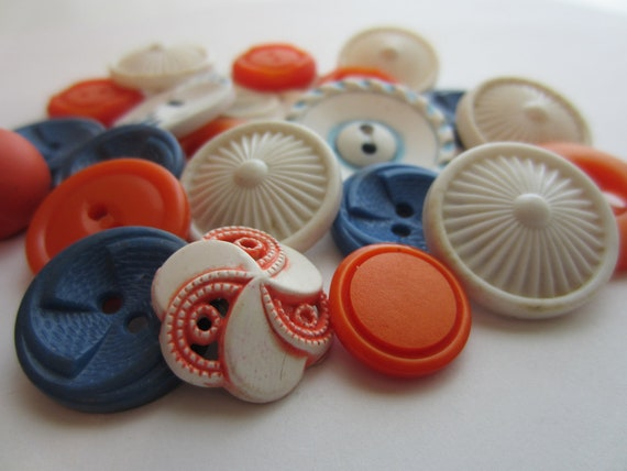 Vintage Buttons - Cottage chic sunny mix of orange, blue and white, old and sweet - 22 total (1945)