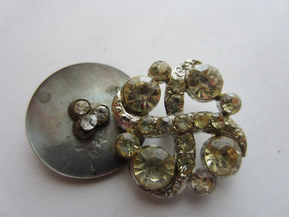 Vintage Buttons - 2 beautiful rhinestone embellished ,1 is mother of pearl, estate sale buttons (lot 1973)