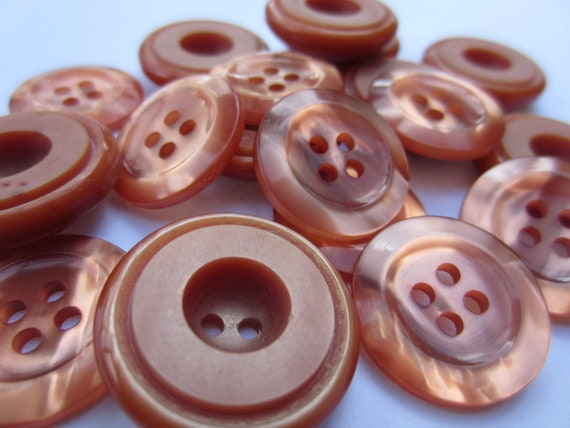 Vintage Buttons -  lot of 18 medium, 2 styles coordinating amber/ copper shimmer, acrylic (2461)