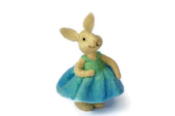 Needle Felted wool Bunny Rabbit wearing a Blue dress - needle felted animals