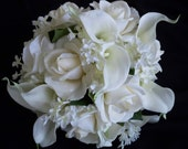 Realtouch Cream/white  Rose and Mini Calla Lilies and Lilac Bouquet