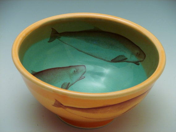 Whale Bowl/ teal pottery