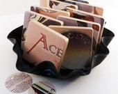 ACE recycled No Strings music album cover art coasters with wacky vinyl bowl