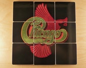 CHICAGO VIII recycled album cover coasters with wacky vinyl record bowl
