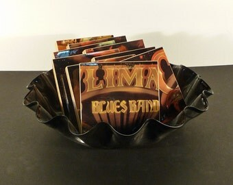 CLIMAX BLUES BAND upcycled Gold Plated album cover coasters with warped vinyl bowl