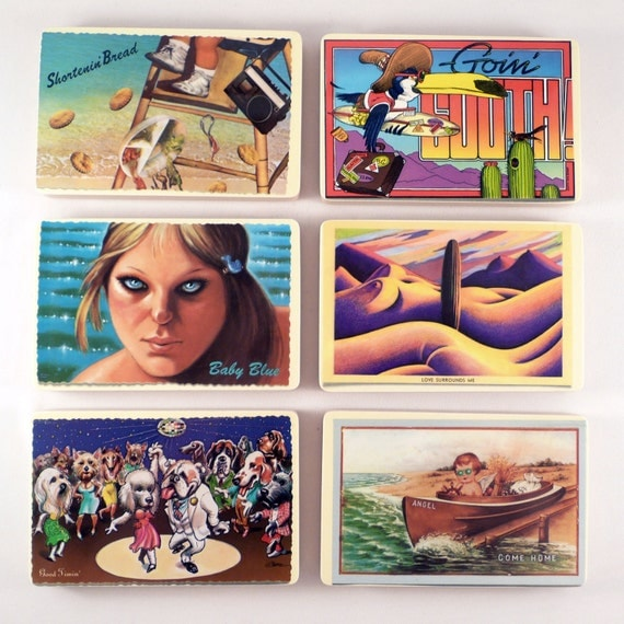 THE BEACH BOYS 12 Really Cool Post Card Shaped Album Art Coasters with Wacky Vinyl Record Bowl