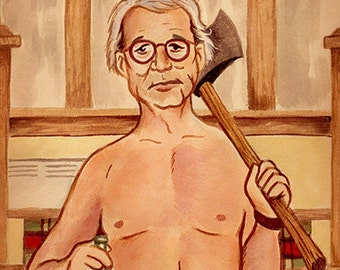 "Bill Murray in Wes Anderson's ""Moonrise Kingdom"" watercolor - 5""x7"" Postcard or 8""x10"" Print"