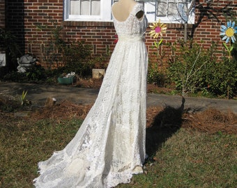 Ivory Champagne Hippie Lace Collage Wedding Gown One of a KIND made to order, Boho wedding Dress