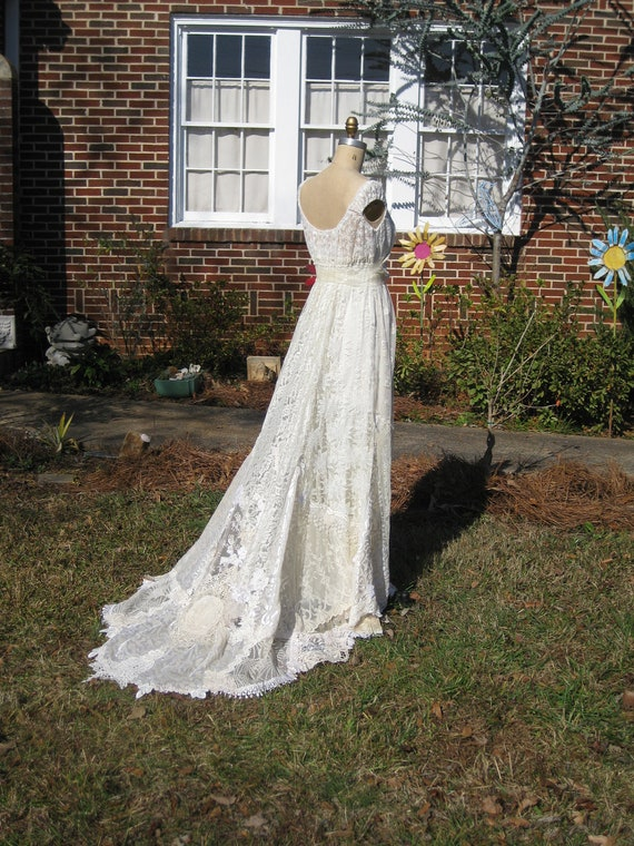 Ivory Champagne Hippie Lace Collage Wedding Gown One Of A KIND
