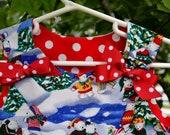 Teddy Bear Toile Corduroy Christmas Jumper Dress