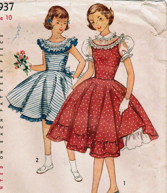 1950s Simplicity 3937 Vintage Sewing Pattern Girl's Dress and Petticoat Size 10