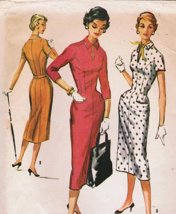 1950s McCall's 3713 Vintage Sewing Pattern Misses' Dress Size 16 Bust 34