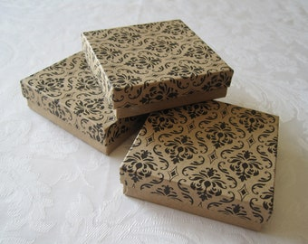 10 Damask Kraft Jewelry Gift Boxes, Wedding Favor Boxes, Kraft Box, Boxes with Lids, Cotton Filled 3.5x3.5x1