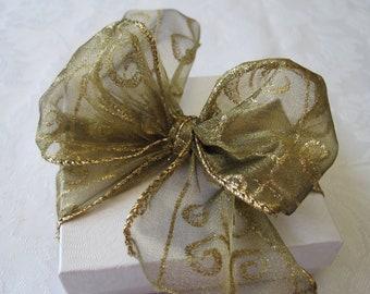 Gold Ribbon, Christmas Ribbon, Holiday Ribbon, Gift Wrap, Gift Wrapping, Christmas Wreath Ribbon, Garland, Wire Edge 2.5 inches 6.5 Yards