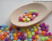 200 pieces Acrylic Star Beads, Mixed Color, 6 mm  (00798)